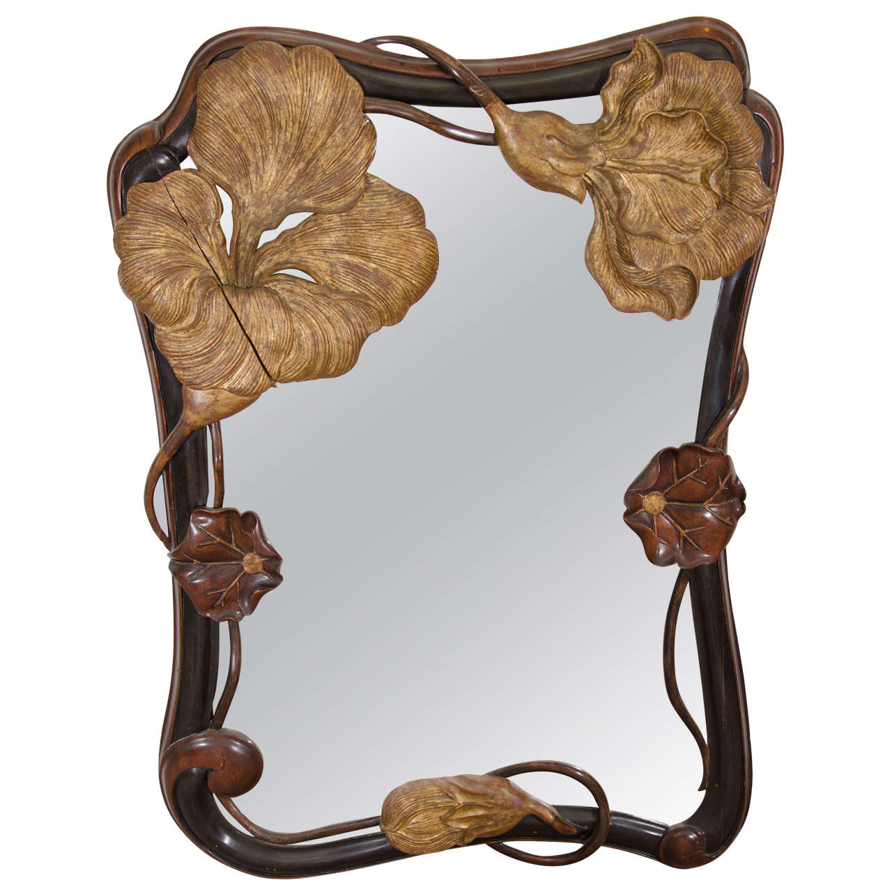 superb art nouveau french carved amp gilded wood wall mirror with sensuous flower art deco mahogany framed office chair