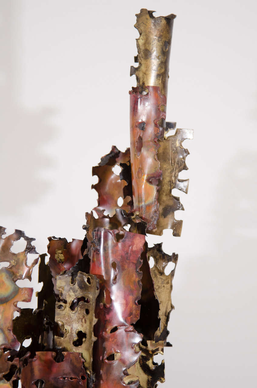 A Brutalist Mixed Metal Sculpture on a Wooden Base by Silas Seandel In Good Condition For Sale In New York, NY