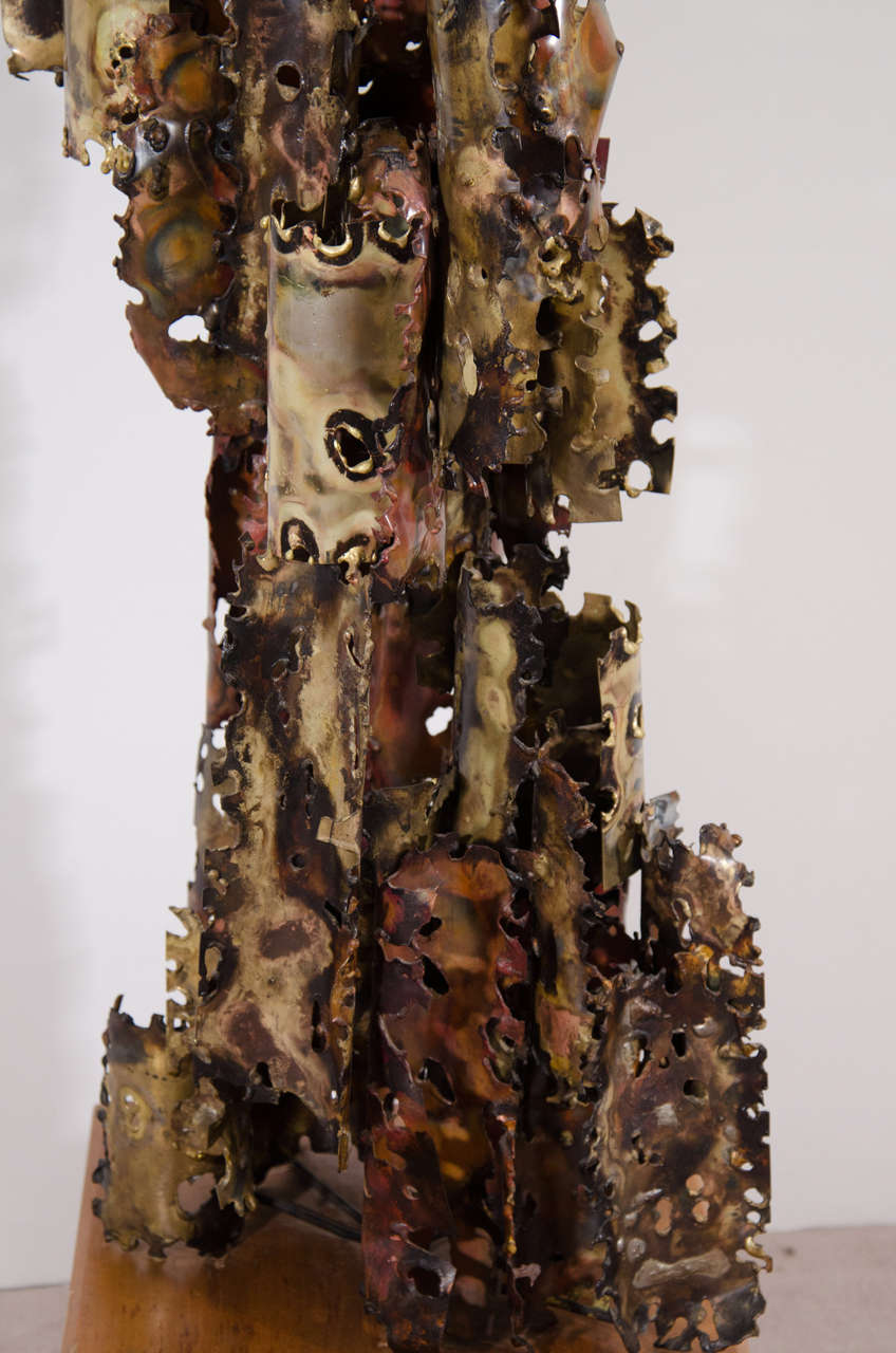 A Brutalist Mixed Metal Sculpture on a Wooden Base by Silas Seandel For Sale 2