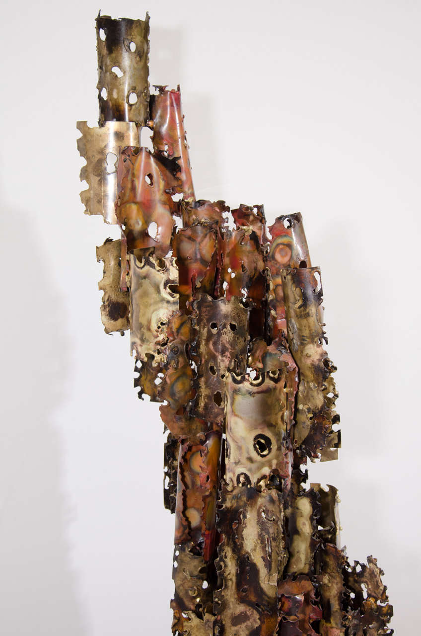 A Brutalist Mixed Metal Sculpture on a Wooden Base by Silas Seandel For Sale 3