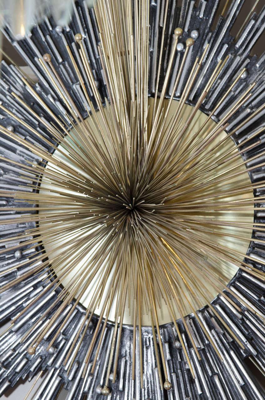 Brutalist mixed metal sunburst wall sculpture inspired by for Sunburst wall art