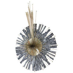 Brutalist Mixed Metal Sunburst Wall Sculpture Inspired by Curtis Jere