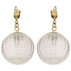 Midcentury Pair of Venini Glass Globe Pendant Lights or Lanterns
