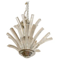 20th Century Two-Tier Murano Curved Glass Chandelier