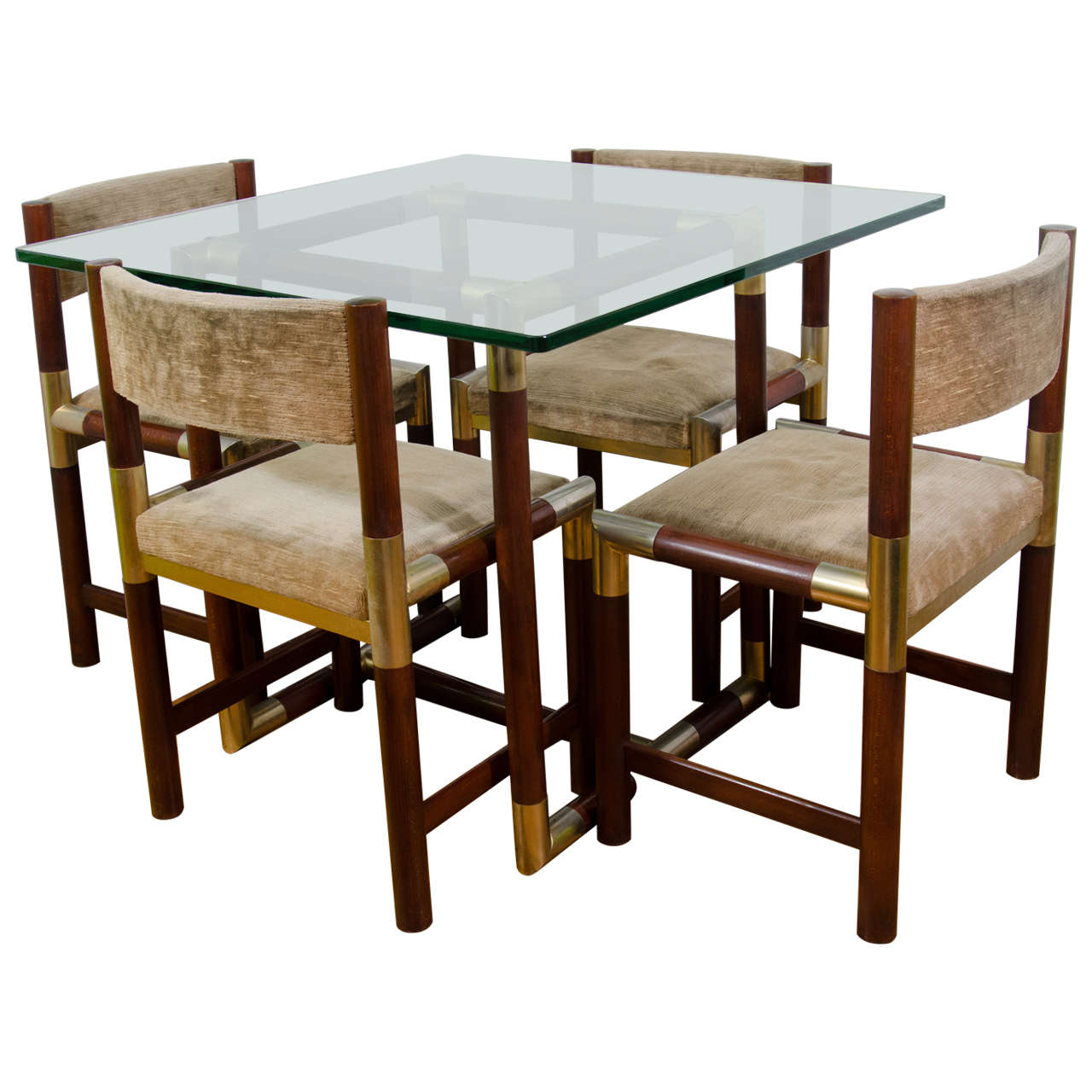 A midcentury french dining room table with four matching for Matching dining room furniture