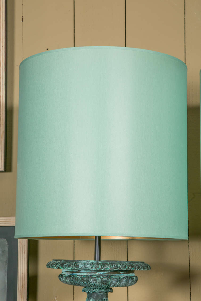 Pair Of Table Lamps With Quot Flat Bronze Cups Quot With Drum