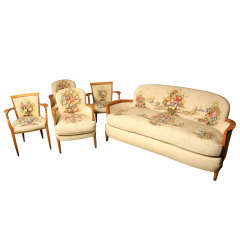 5 Piece Aubusson Upholstered Seating Set By Jules Leleu