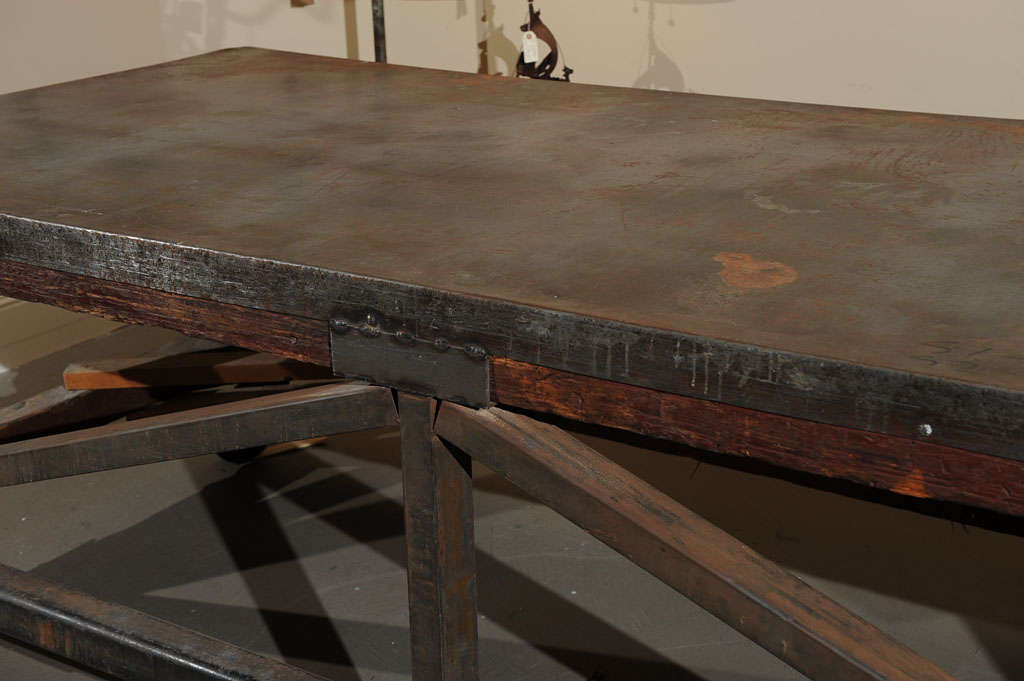 19th Century Industrial Steel Encased Redwood Wheeled Table For Sale 3