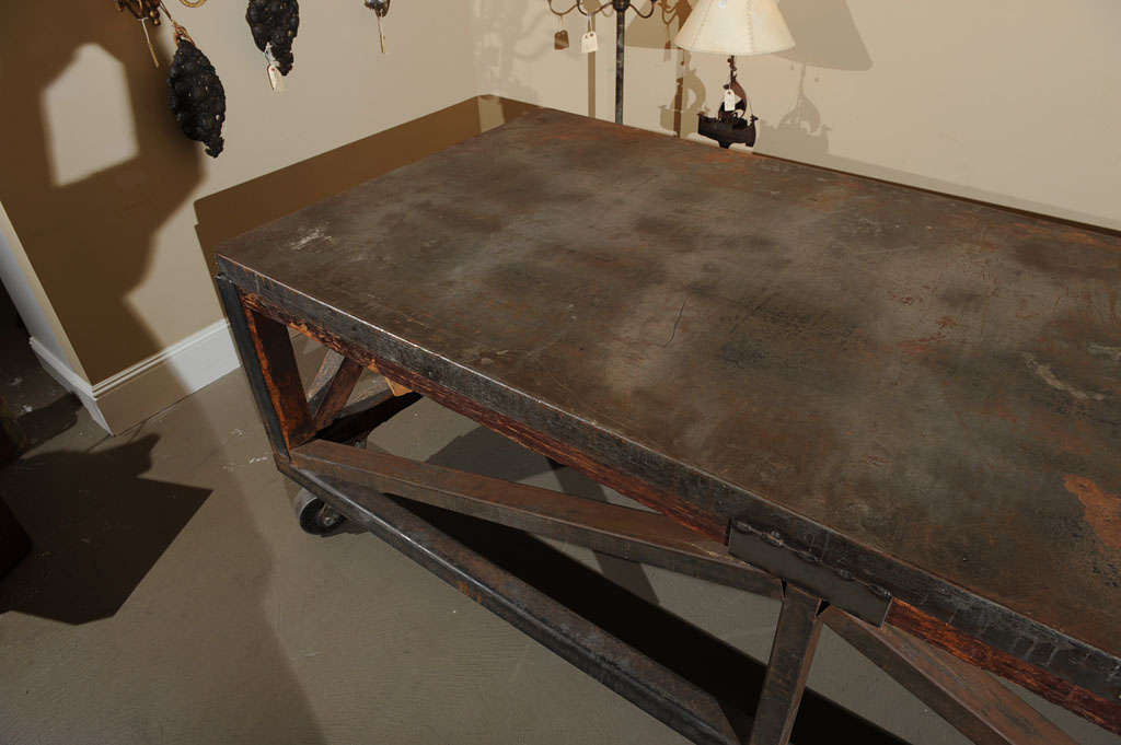 19th Century Industrial Steel Encased Redwood Wheeled Table For Sale 4