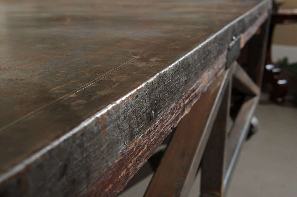 19th Century Industrial Steel Encased Redwood Wheeled Table For Sale 6