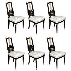 French Set of 6 Lyre Back Chairs by Jansen