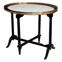 Hollywood Regency Marble-Top Ebonized Tilt-Top Table Attributed to Jansen