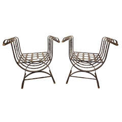Pair of Metal Garden Benches