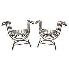 Pair of Metal Garden Benches