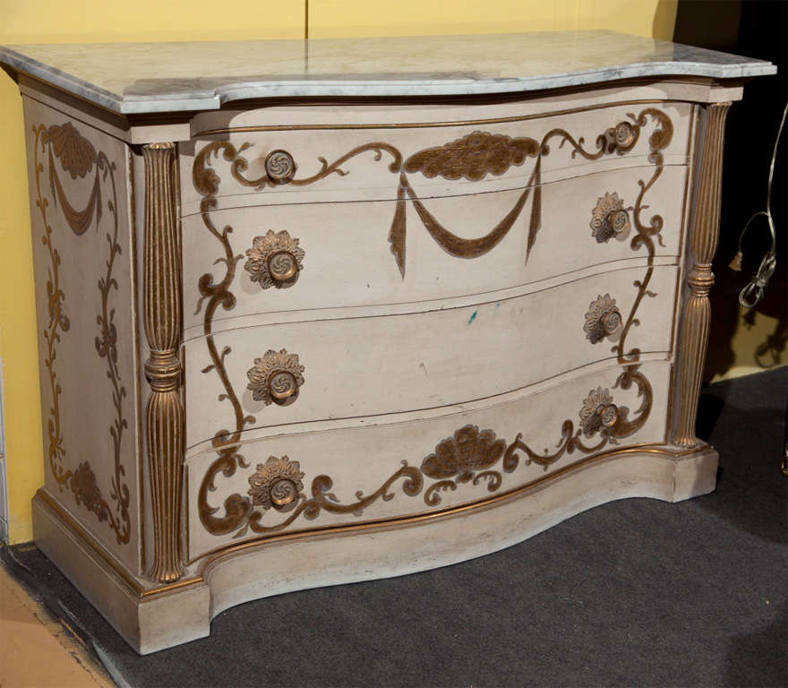 French Pair of Marble-Top Commodes Stamped Jansen For Sale