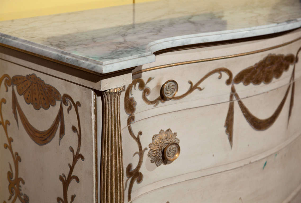 Pair of Marble-Top Commodes Stamped Jansen In Good Condition For Sale In Stamford, CT