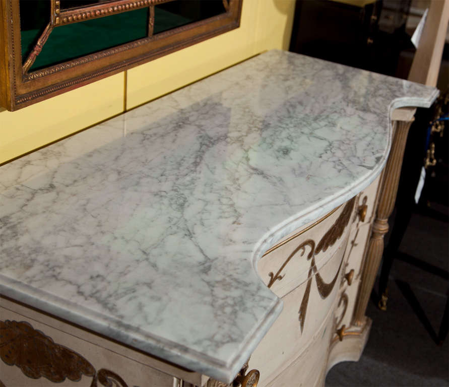 Mid-20th Century Pair of Marble-Top Commodes Stamped Jansen For Sale