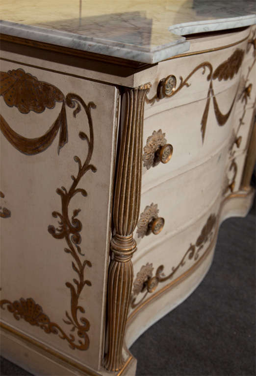 Wood Pair of Marble-Top Commodes Stamped Jansen For Sale