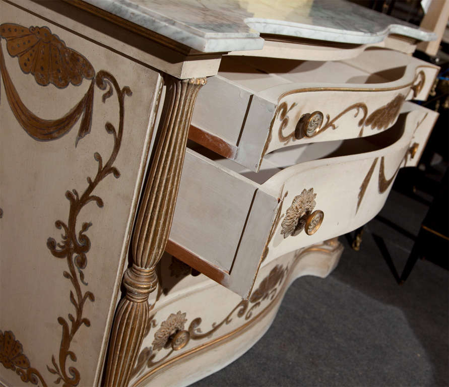 Pair of Marble-Top Commodes Stamped Jansen For Sale 2