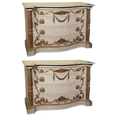 Pair of Marble-Top Commodes Stamped Jansen