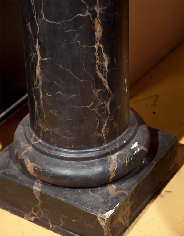 Pair of Monumental Faux Marble Cement Columns In Good Condition For Sale In Stamford, CT
