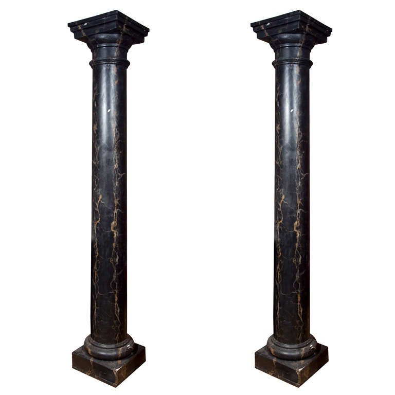 Pair of Monumental Faux Marble Cement Columns