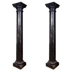 Pair of Monumental Faux Marble Painted Black Cement Columns / Pedestals