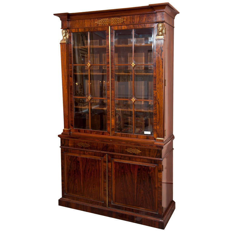 French Empire Style Rosewood Bookcase At 1stdibs