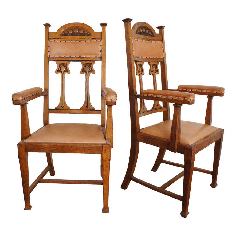 Arts And Crafts Movement Oak Armchairs At 1stdibs