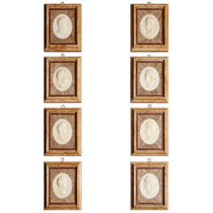 Set of Eight 19th Century Italian Grand Tour Marble Plaque Reliefs of Emperors