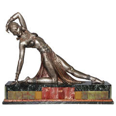 Demetre Chiparus (1886-1947) Early 20th c. Silvered and Gilt Bronze Exotic Dancer on Marble and Onyx Plinth