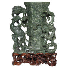 Chinese Spinach Jade Vase with Phoenix Bird and Dragon representing Immortality