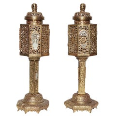 Pair of Gilt Bronze Chinese Lanterns, Traditional Style with Inlaid Jade Plaques