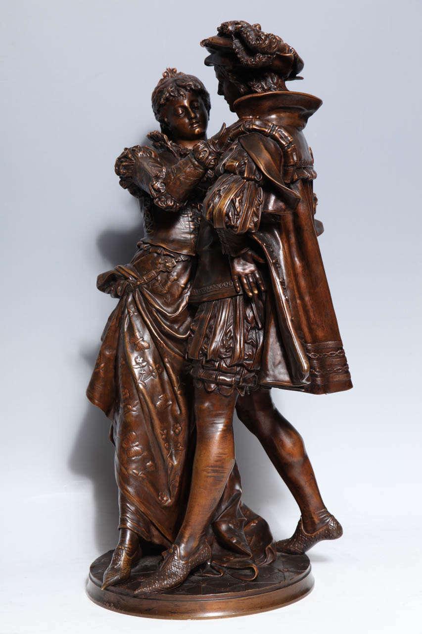 Finely crafted antique French patinated bronze figural group of Romero and Juliet in renaissance attire, each figure is finely cast and then delicately hand chiseled with the finest details by famous French artist Jean-Louis Gregoire (1840-1890).
