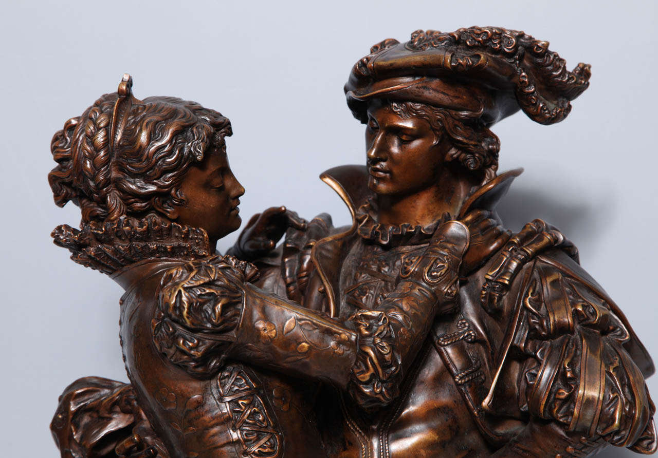 French Patinated Bronze Group of Romeo & Juliet by L. Gregoire In Excellent Condition In New York, NY