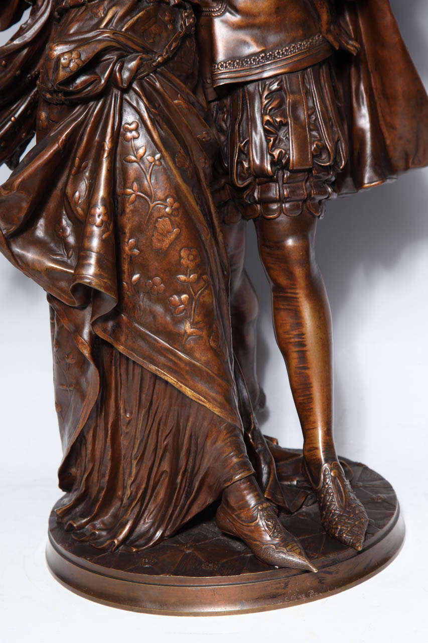 19th Century French Patinated Bronze Group of Romeo & Juliet by L. Gregoire