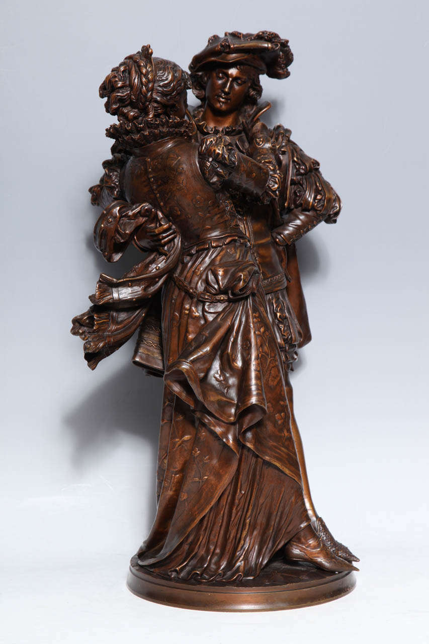 French Patinated Bronze Group of Romeo & Juliet by L. Gregoire 1