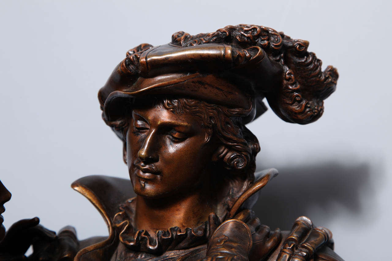 French Patinated Bronze Group of Romeo & Juliet by L. Gregoire 3