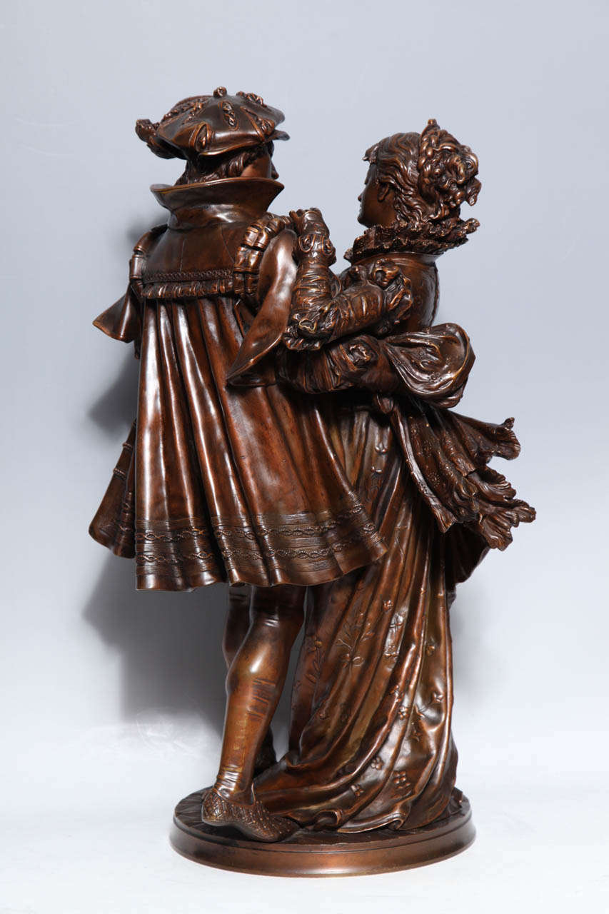 French Patinated Bronze Group of Romeo & Juliet by L. Gregoire 4