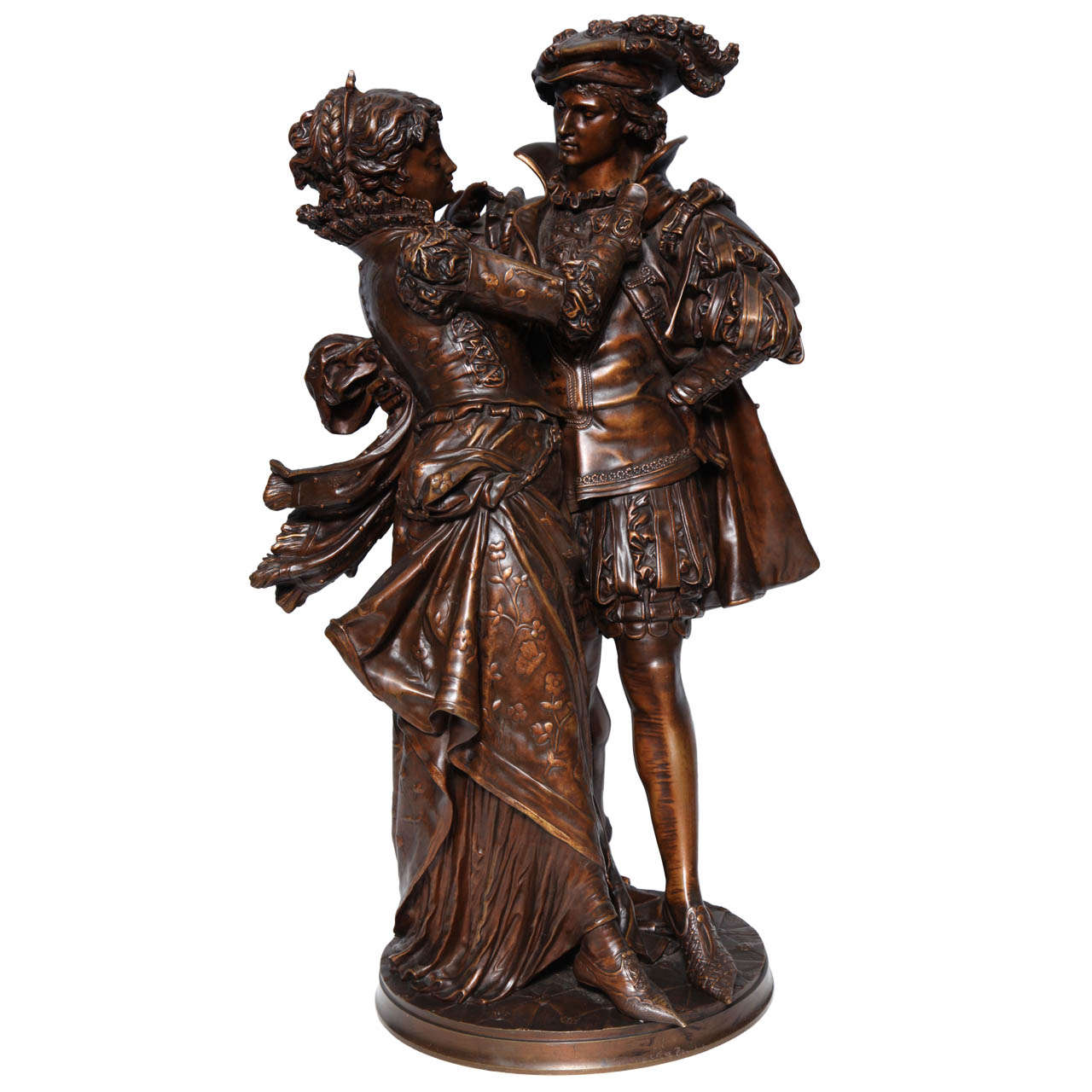 French Patinated Bronze Group of Romeo & Juliet by L. Gregoire