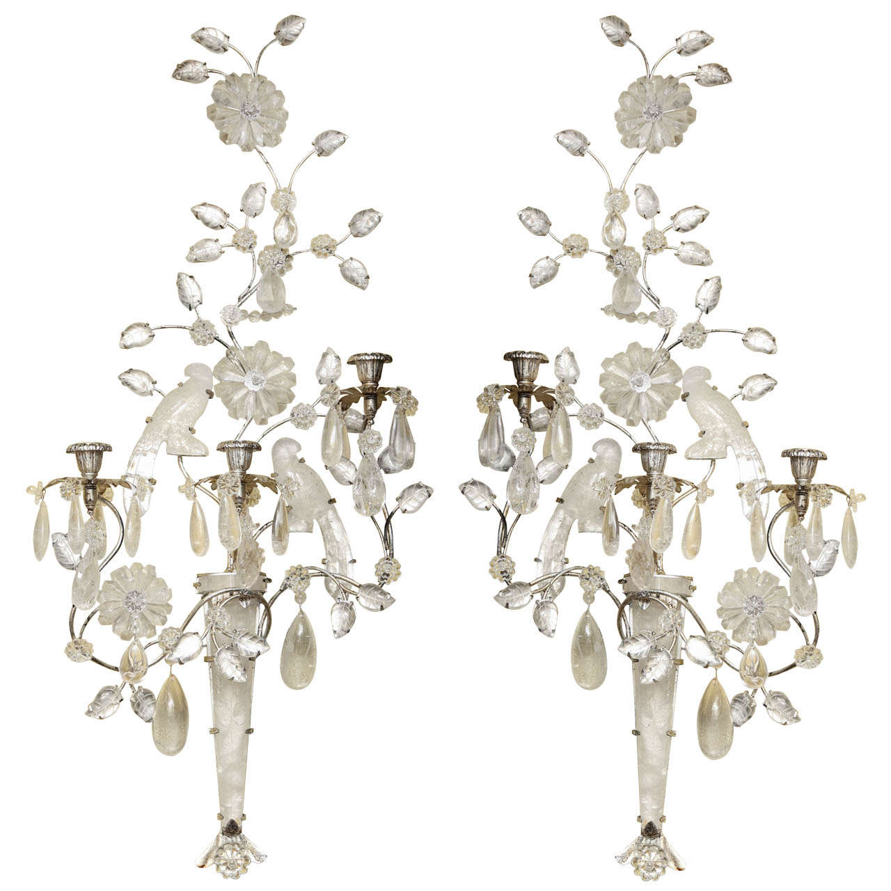 Crystal Bird Wall Sconces : Magnificent Large Pair of Rock Crystal Double Bird Three-Arm Wall Light Sconces For Sale at 1stdibs