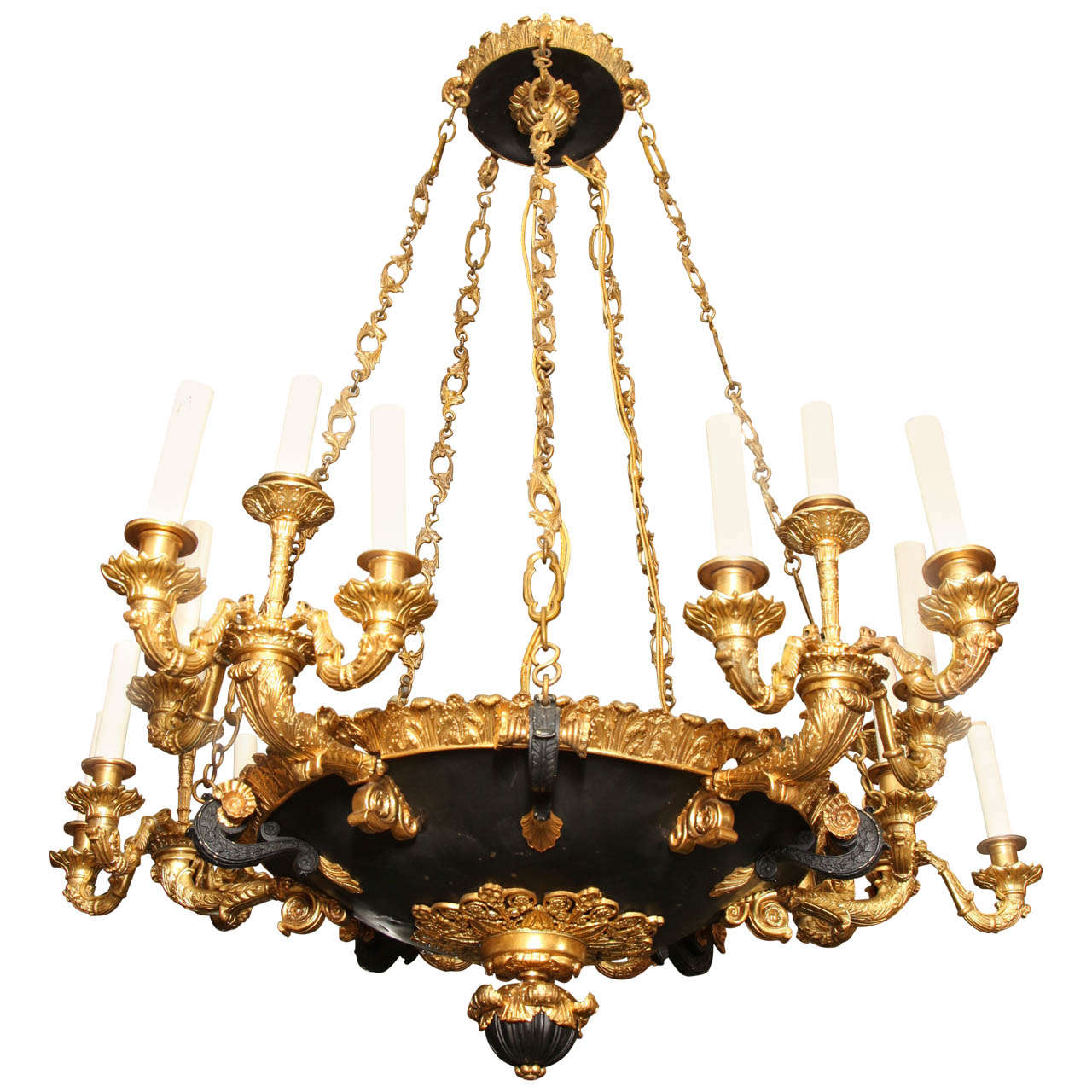 A Very Large 19th Century French Empire Style Twenty Light Chandelier For