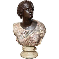 Very Fine Quality Italian Neoclassical Marble and Bronze Bust of a Woman