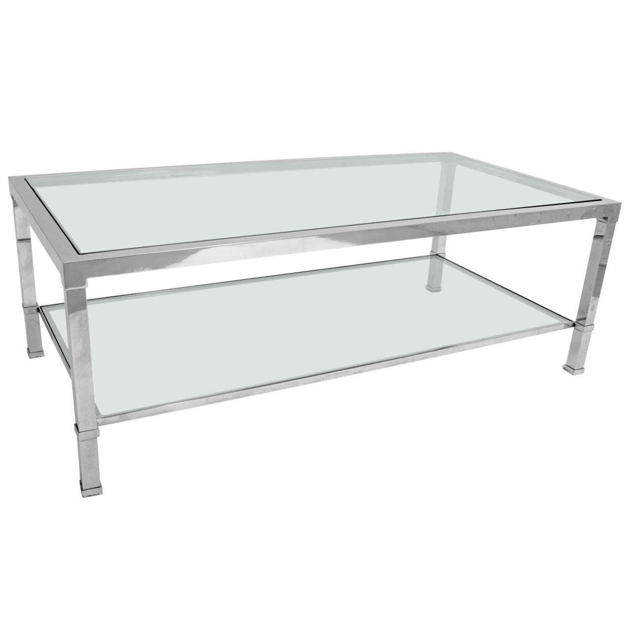 1960 39 S 39 Chrome And Glass Two Tier Coffee Table At 1stdibs