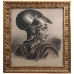 French Academy Drawing of Soldier in Gilt Frame