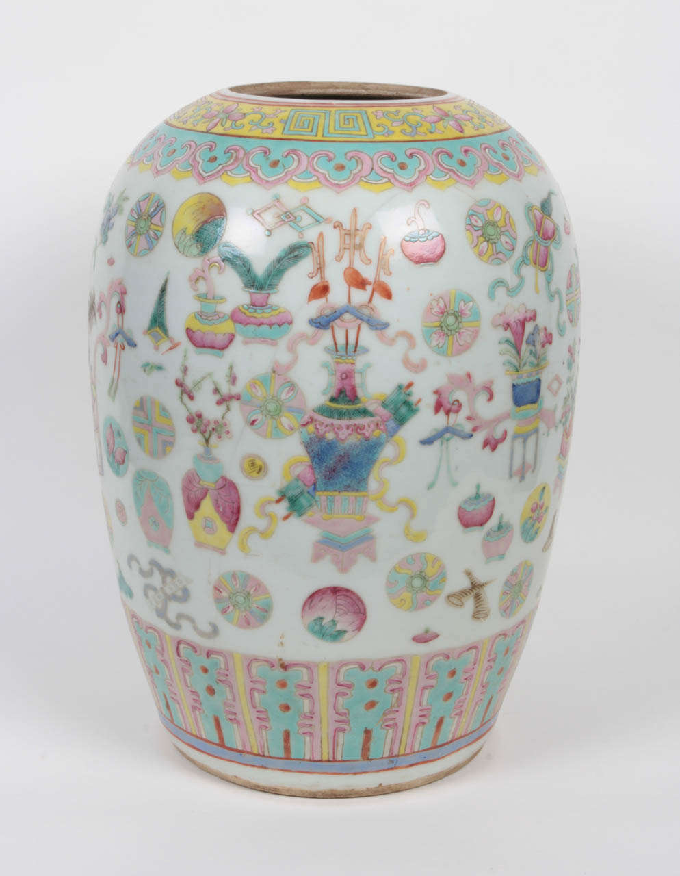 Chinese famille rose jar vase at 1stdibs ceramic melon jar vase in a fine famille rose pattern chinese qing dynasty reviewsmspy