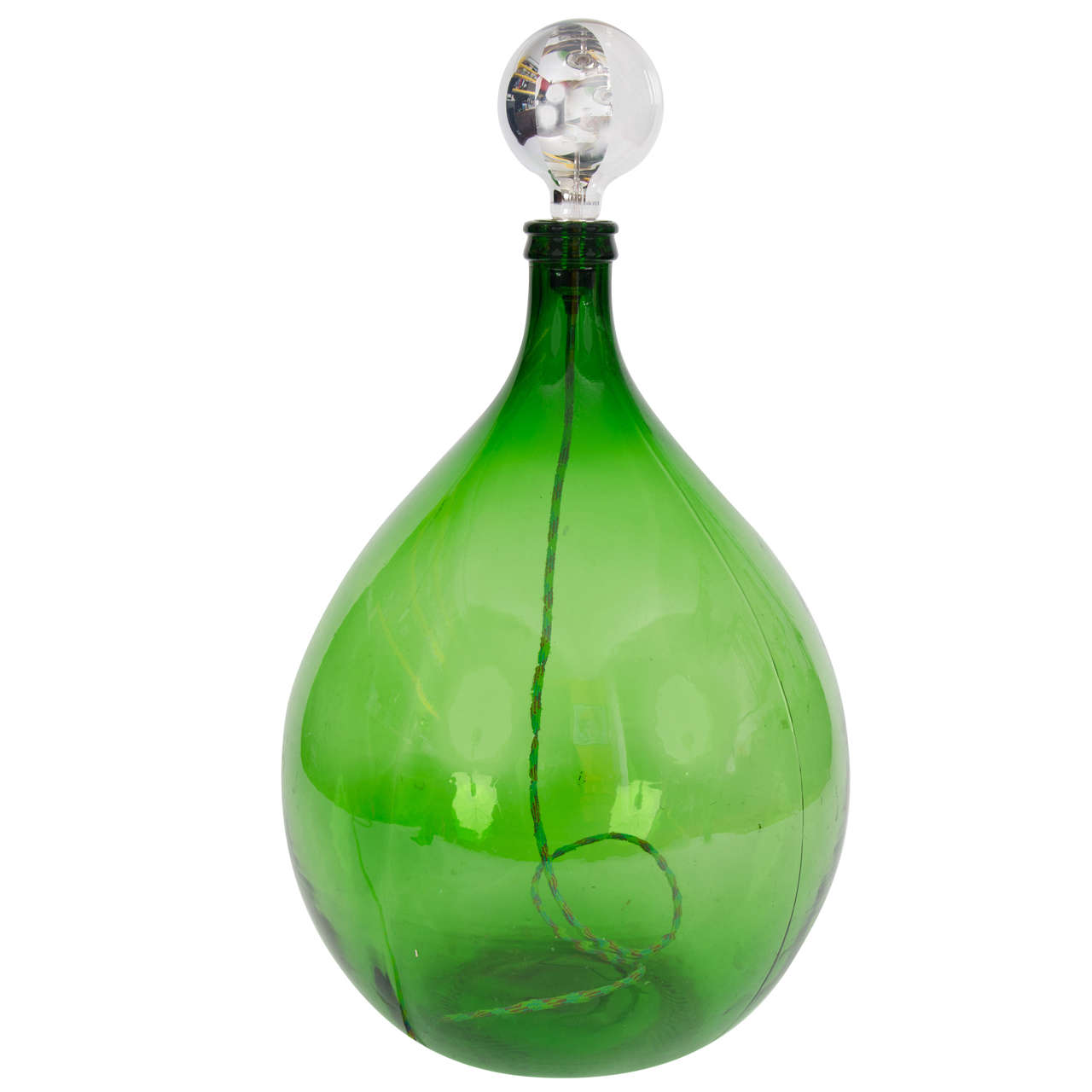 Vintage Bohemian/Rustic Handmade Green Demijohn Glass Bottle Table/Floor Lamp