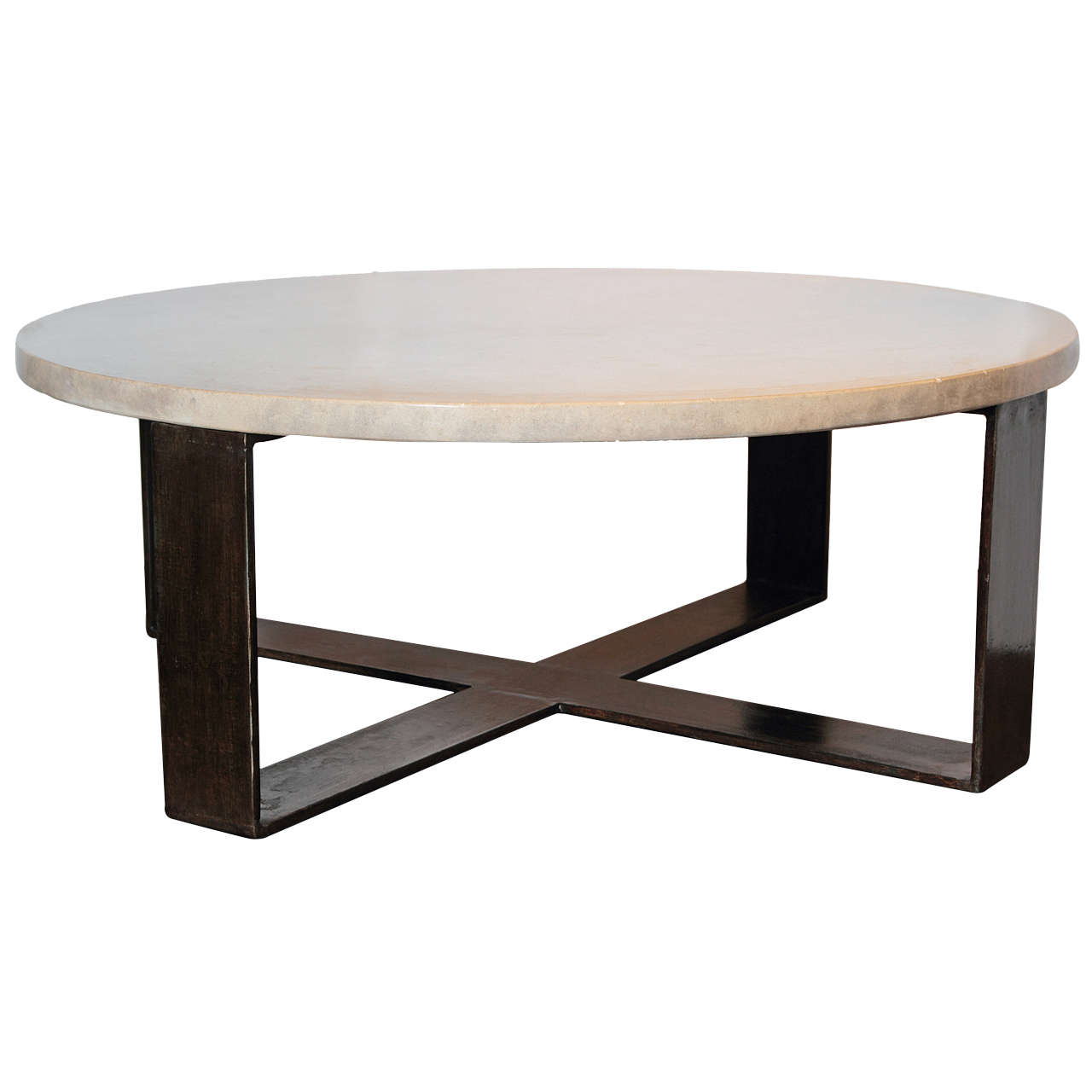 Limestone Top With X Base Steel Coffee Table For Sale At