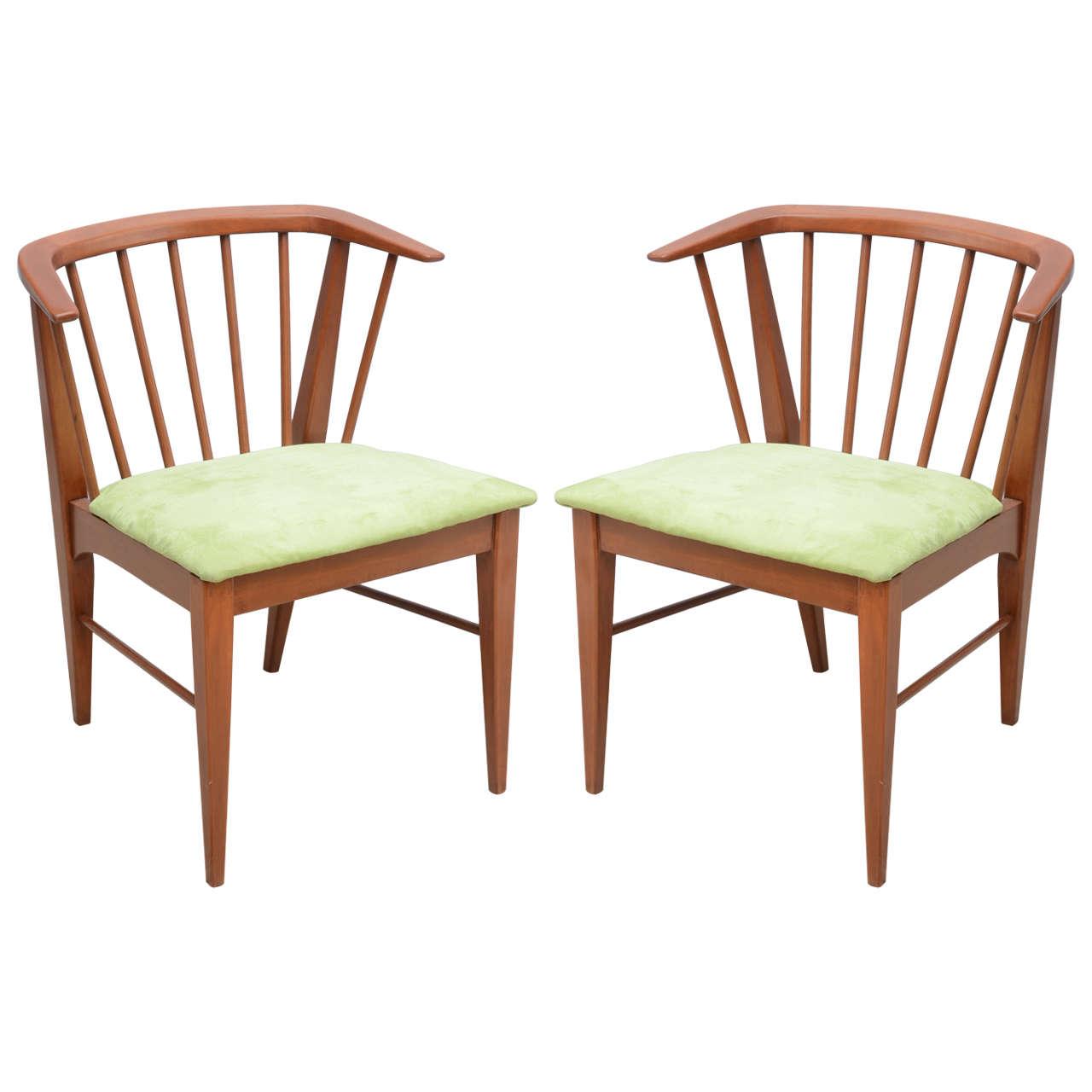 Pair of Wegner style teak chairs--1960s Denmark