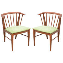 Pair of Wegner style teak chairs--1960s Denmark
